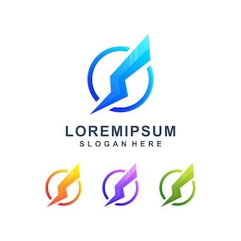 Logotipo moderno do trovão colorido