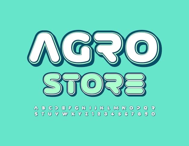 Logotipo moderno do vetor agro store fonte macia criativa estilo futurista conjunto de letras e números do alfabeto