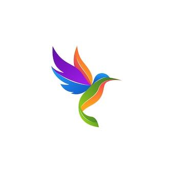 Logotipo moderno e colorido do beija-flor