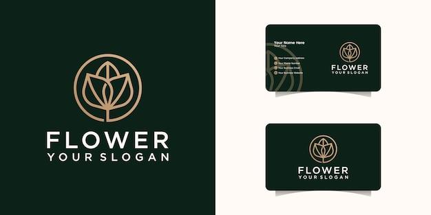 Logotipo moderno e elegante da flor rosa com modelo de cartão.