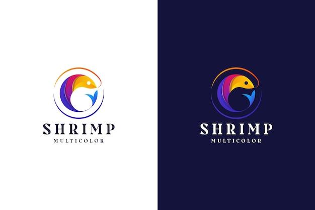 Logotipo moderno gradiente camarão colorido abstrato