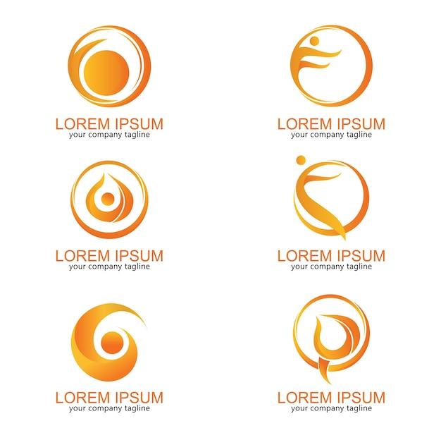 Logotipo moderno lua pessoas yoga saúde