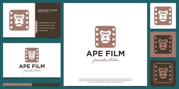 Logotipo moderno moderno da produção de filme de rosto de macaco