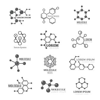 Logotipo molecular. química dna molécula estrutura científica átomo negócios marca vector conceito