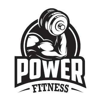 Logotipo monocromático de esporte e fitness vintage com mão muscular segurando halteres