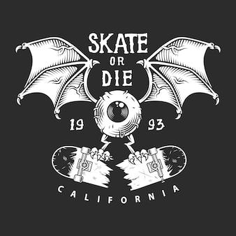 Logotipo monocromático de skate vintage