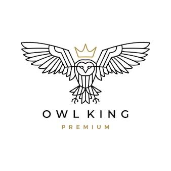 Logotipo monoline coruja king coroa branca