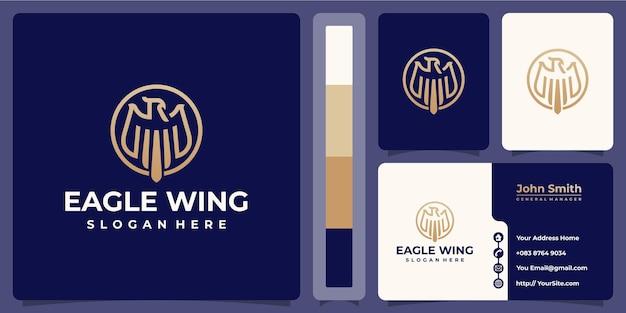 Logotipo monoline da asa de águia com modelo de cartão de visita