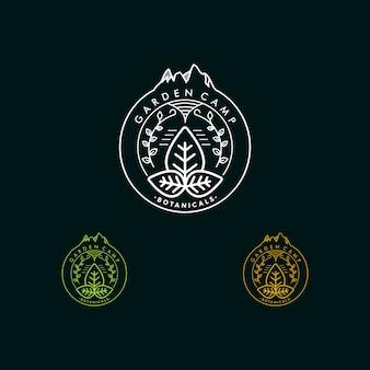 Logotipo monoline do campo de jardim
