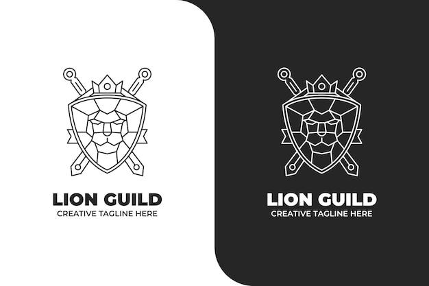 Logotipo monoline do emblema do leão shiled