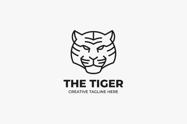 Logotipo monoline do tiger head sport