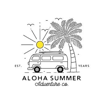 Logotipo monoline tropical, com elemento ao ar livre