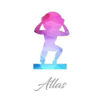 Logotipo monumento abstrato para o atlas feito de triângulos
