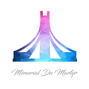 Logotipo monumento abstrato para o memorial du mártir feito de triângulos