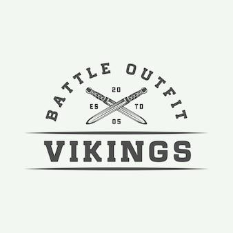 Logotipo motivacional de vikings vintage
