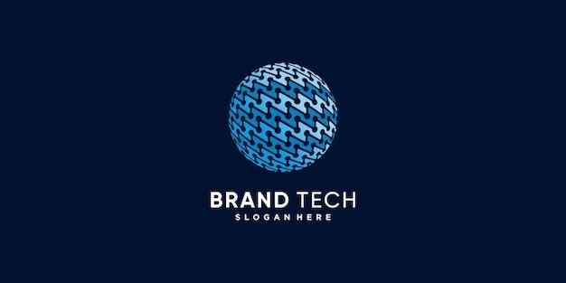 Logotipo mundial com conceito de tecnologia moderna criativa premium vector parte 1
