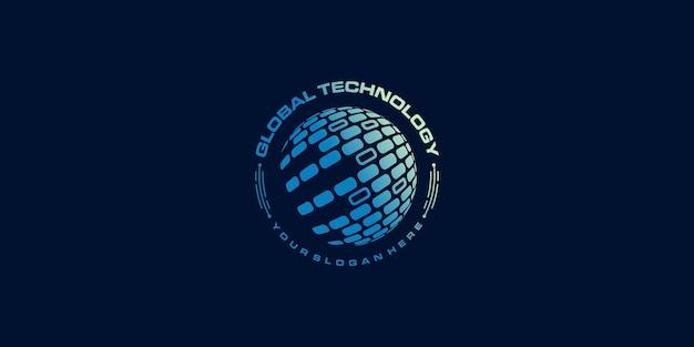 Logotipo mundial com conceito de tecnologia moderna criativa premium vector parte 5