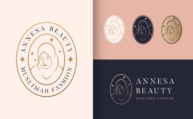 Logotipo muslimah hijab linha arte moda logotipo e design de cartão de visita