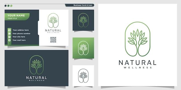 Logotipo natural com estilo de arte de linha de árvore exclusivo e design de cartão de visita