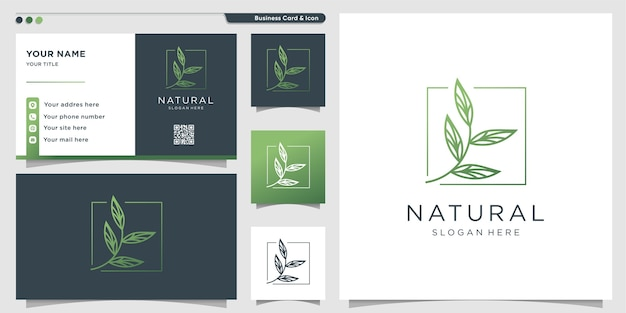Logotipo natural com estilo único de arte em linha