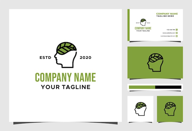 Logotipo natural da folha mental e design de vetor de cartão de visita