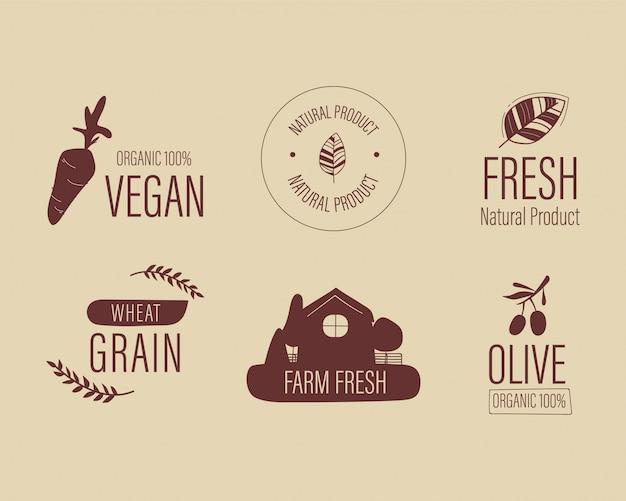Logotipo natural dos alimentos frescos da fazenda orgânica.