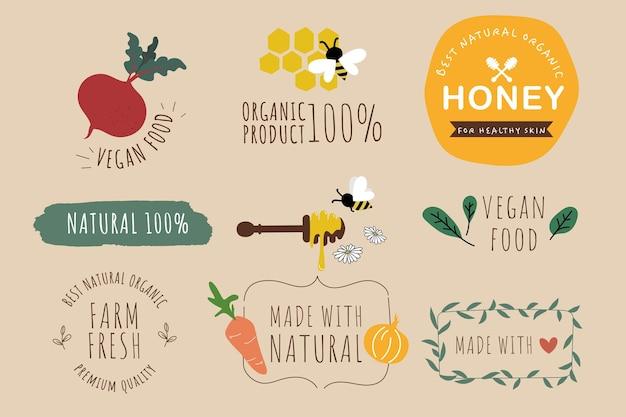 Logotipo natural e banner verde orgânico e design de etiqueta