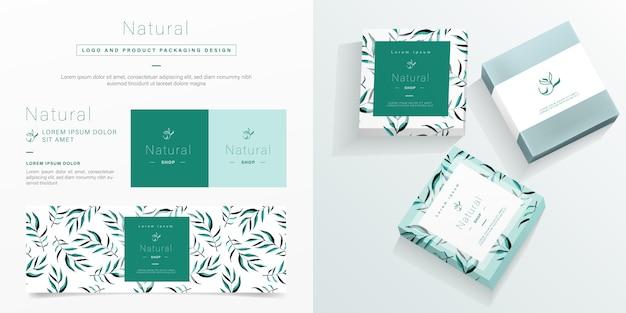 Logotipo natural e modelo de embalagem.