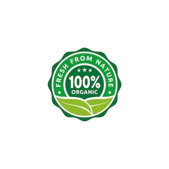Logotipo natural orgânico da etiqueta do selo da etiqueta do emblema de 100%