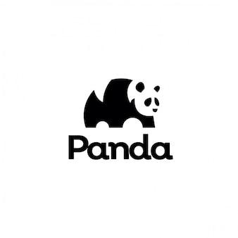 Logotipo negativo minimalista do panda do espaço