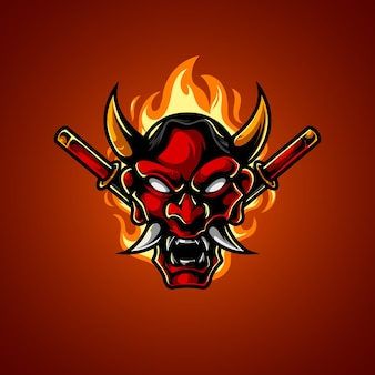 Logotipo oni mask head e sport