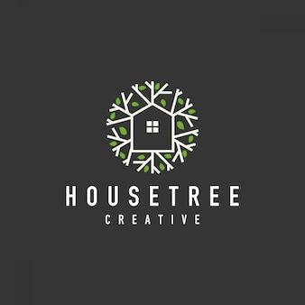Logotipo orgânico da casa na árvore