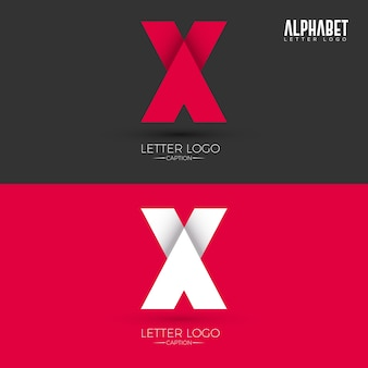 Logotipo origami style x letter