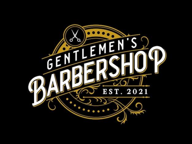 Logotipo ornamental de letras vintage de barbearia