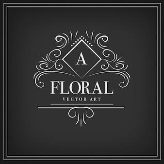 Logotipo ornamental floral