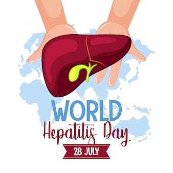 Logotipo ou banner do dia mundial da hepatite com as mãos segurando o fígado no fundo do mapa mundial