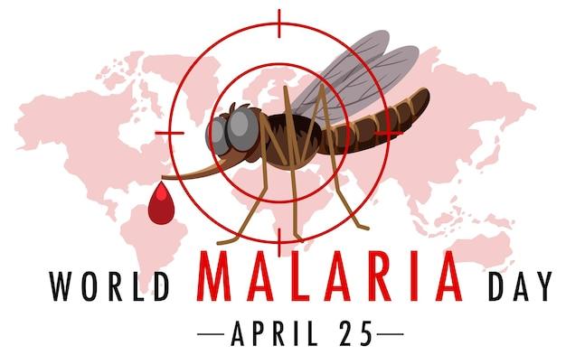 Logotipo ou banner do dia mundial da malária com mosquito no mapa mundial