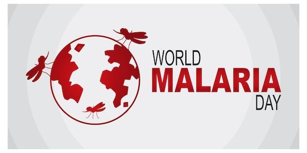 Logotipo ou banner do dia mundial da malária com mosquito no signo de terra