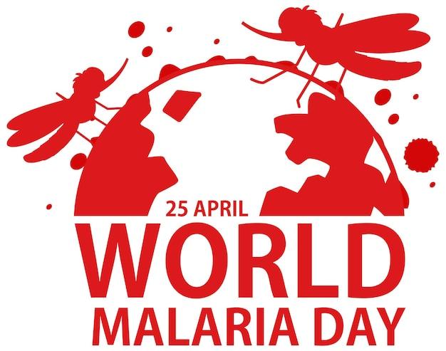 Logotipo ou banner do dia mundial da malária com mosquito