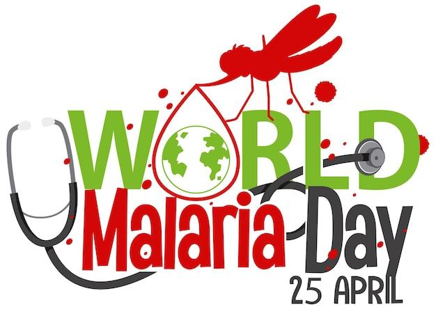 Logotipo ou banner do dia mundial da malária com um mosquito