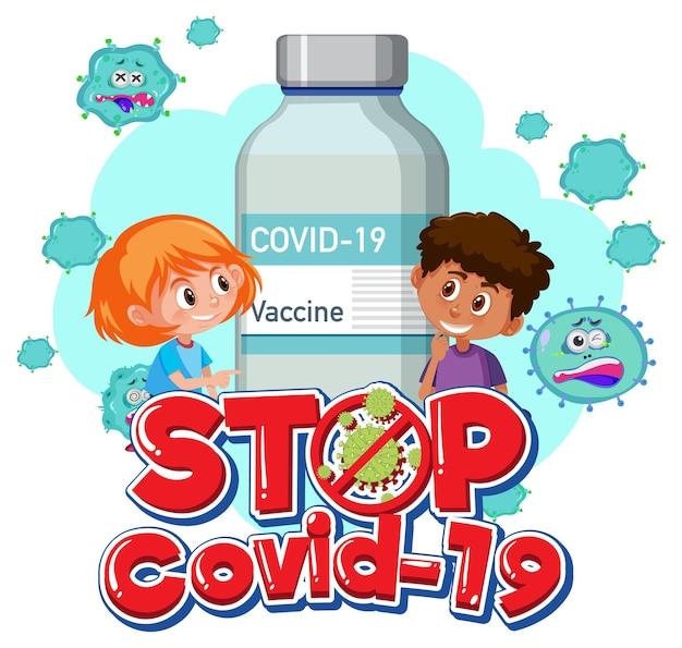 Logotipo ou banner stop covid-19 com personagem de desenho animado infantil e frasco de vacina covid-19