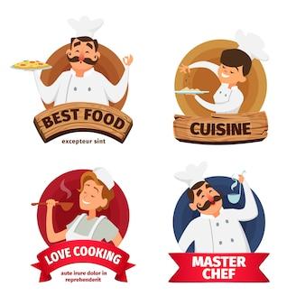 Logotipo ou conjunto de etiquetas para o restaurante.
