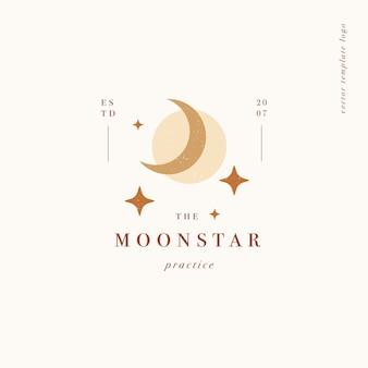 Logotipo ou emblema do modelo linear de desenho vetorial - estilo boho mistério. símbolo abstrato para boutique espiritual e astrologia.