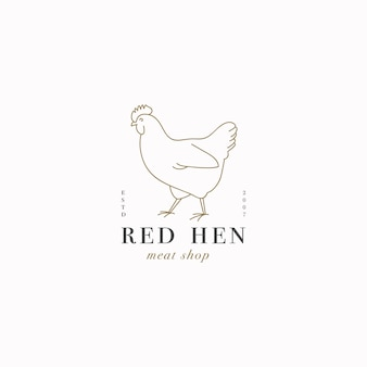 Logotipo ou emblema do modelo linear do projeto do vetor - galinha da fazenda. símbolo abstrato para loja de carne ou açougue.