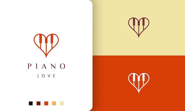 Logotipo ou ícone de amor de piano simples e moderno