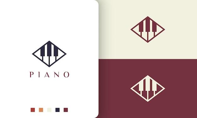 Logotipo ou ícone de aprendizagem de piano em um estilo minimalista e moderno