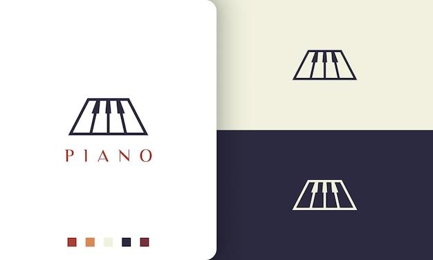 Logotipo ou ícone de piano simples e moderno