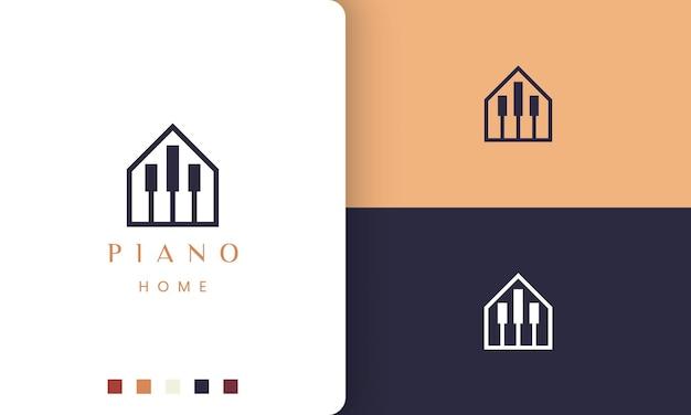 Logotipo ou ícone simples e moderno da casa de um piano