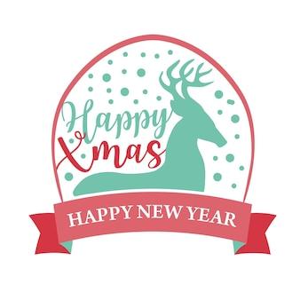 Logotipo ou insígnia de natal bonito desenho animado silhueta de veado feliz natal e feliz ano novo