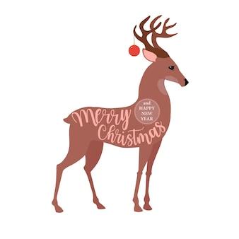 Logotipo ou insígnia de natal bonito dos desenhos animados cervos feliz natal e feliz ano novo
